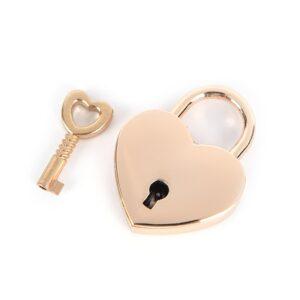 Mini hänglås liten hjärtform med nyckel Guld