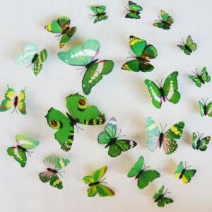 Fjäril väggdekorationer 3D med magneter 12 st / förp Lila