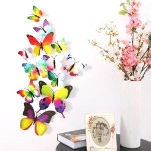 Fjäril väggdekorationer 3D med magneter 12 st / förp Regnbåge