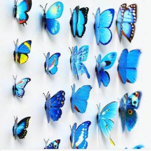 Fjäril väggdekorationer 3D med magneter 12 st / förp Blå