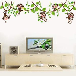 5 lekfulla apor vinyl vägg klistermärken