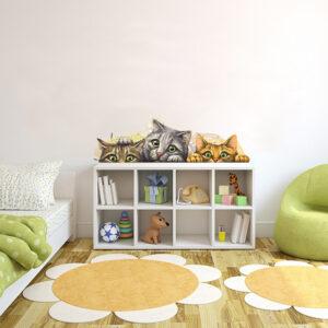 Söta målade katter vinyl vägg klistermärken