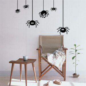 6 spindlar Halloween väggdekor klistermärken