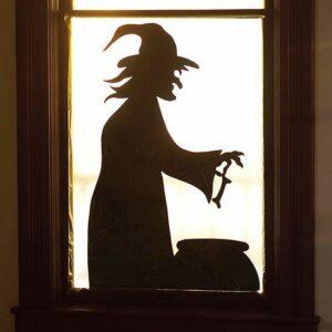 Häxa i fönster Halloween väggdekor klistermärken