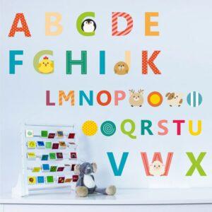 Engelska mini alfabet vägg klistermärken