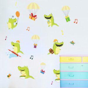 6 glada krokodiler vinyl vägg klistermärken