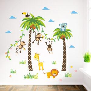 Två palmer med apor vinyl vägg klistermärken