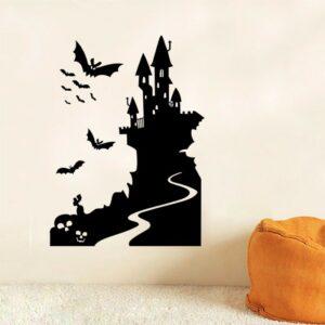 Häxans slott Halloween väggdekor klistermärken