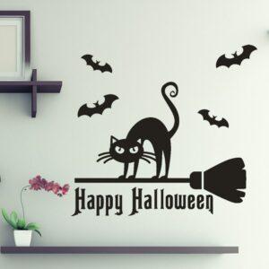 Häxans katt Halloween väggdekor klistermärken