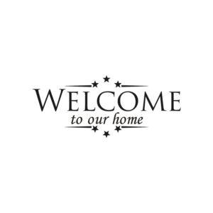 Welcome to our home med stjärnor väggklistermärke