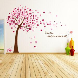 Rosa sakura blommar träd vägg klistermärken