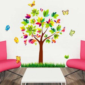 Regnbåge träd med fåglar vägg klistermärke