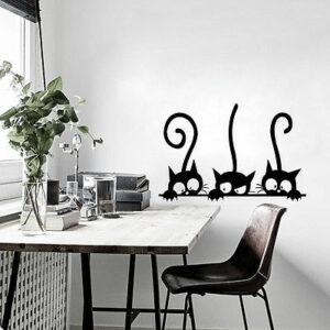 Gulliga 3 svarta katter väggklistermärke
