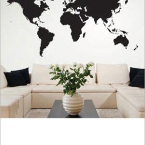 Världskarta väggsklistermärke Svart