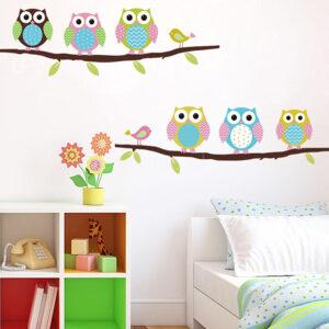 6 Ugglor på trädgren vägg klistermärke