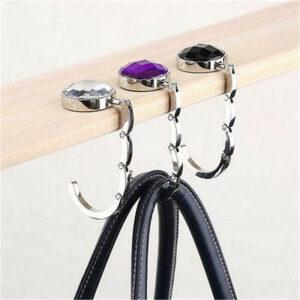 Bärbar vikbar krok för väska Silver + Vit