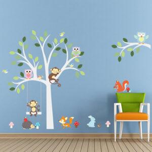 Vit träd med djur vinyl vägg klistermärken