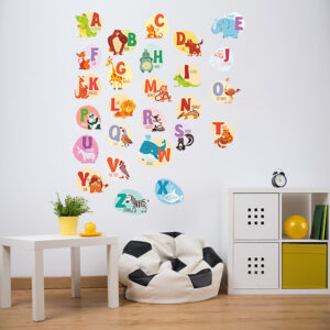 Engelska Alfabet med djuren vägg klistermärken