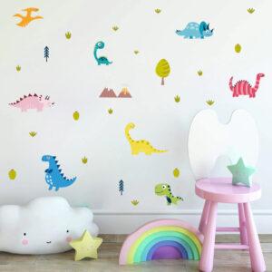 8 små dinosaurier vinyl vägg klistermärken