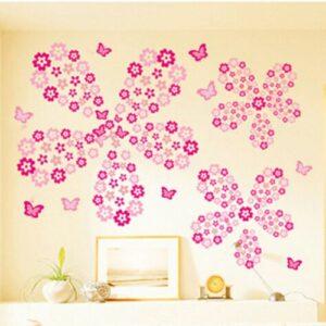 Blommor rummet inredning vinyl vägg klistermärken 114 st
