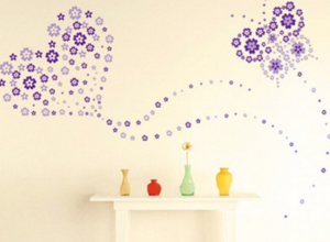 Blommor rummet inredning vinyl vägg klistermärken 130 st