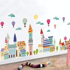 Magisk stad vinyl vägg klistermärken