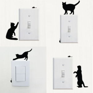 Katter strömbrytare vinyl vägg klistermärken 4 st / förp