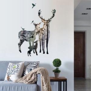 Hjortdjur familj färgad i skogen vägg klistermärken