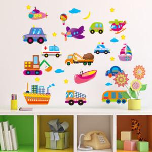 Bilar, båt och flygplan vinyl vägg klistermärken