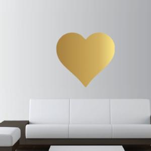 Stor Guld hjärta vinyl vägg klistermärke
