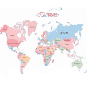 Karta med landsnamn väggsklistermärke 130x90