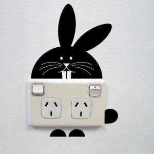 Kanin strömbrytare vinyl vägg klistermärke