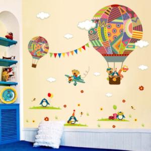 Flygande ballonger med djur väggdekor