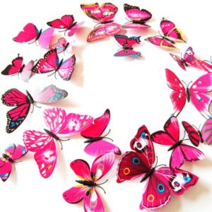 Fjäril väggdekorationer 3D med magneter 12 st / förp Rosa