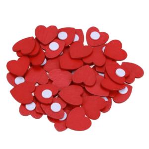 100 st / förp mini hjärta klistermärken i trä