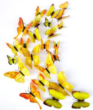 Fjäril väggdekorationer 3D med magneter 12 st / förp Gul