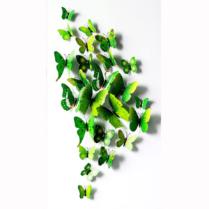 Fjäril väggdekorationer 3D med magneter 12 st / förp Grön