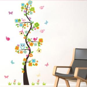 Långt färgat träd med fåglar vinyl vägg klistermärke