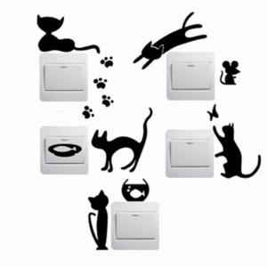 5 st. katter strömbrytare vinyl vägg klistermärken