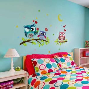 3 söta nattugglor vinyl vägg klistermärken