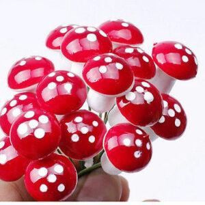 10st Mini Röd Svamp Trädgård